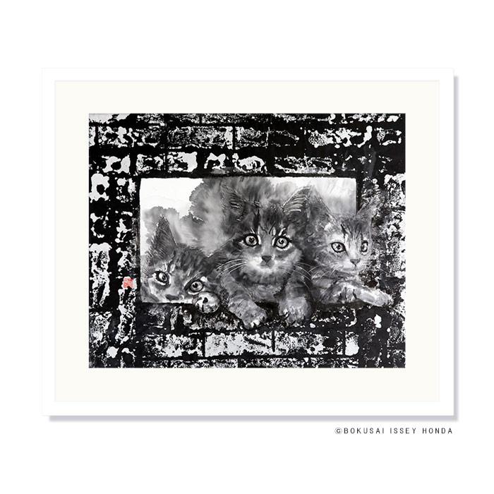 【枠シリーズ1】絵画 猫 水墨 850×720mm モノクロ おしゃれ 絵 壁掛け 和食店 レストラン レプリカ 壁面装飾【本田一誠】