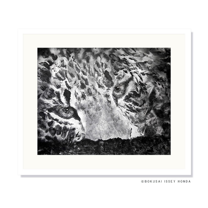 【樹上】絵画 豹 水墨画 850×720mm 壁掛けインテリア 白黒 おしゃれ 絵 内装用 壁アート レプリカ 本田一誠