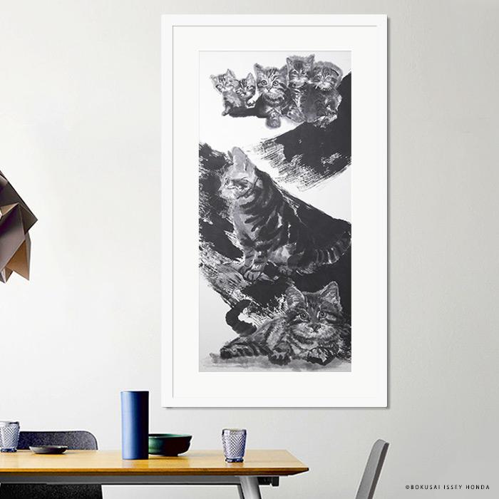 【現代水墨画家 ISSEY HONDA 夢想】猫 絵画 インテリア モダン おしゃれ 壁掛け 絵 縦長 和食店 和風 ダイニング 割烹 料理店 日本画 額付き