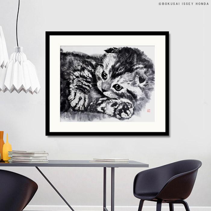 【やわらかな毛並みを墨のにじみで表現】水墨画 猫【無垢2】絵画 インテリア 水墨 モダン 和モダン モノクロ 日本画 おしゃれ 絵 壁掛け