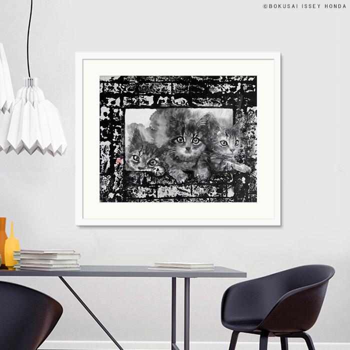 【現代水墨画家 ISSEY HONDA 枠】絵画 ネコ 水墨 モノクロ おしゃれ 絵 壁掛け 和食店 創作 レストラン レプリカ 壁面装飾