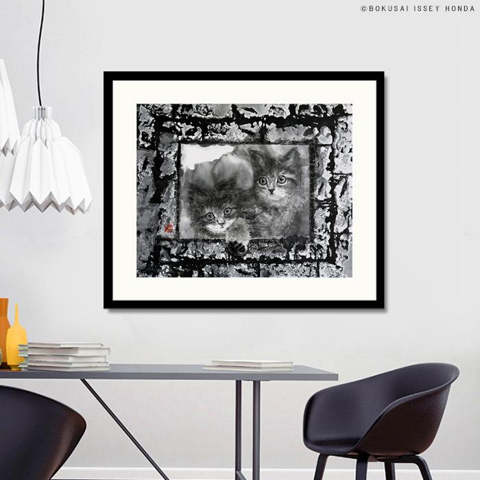 【現代水墨画家 ISSEY HONDA 枠2】絵画 猫 壁掛け おしゃれ 絵 白黒 和室 和風 和モダン 内装 商店建築 墨彩