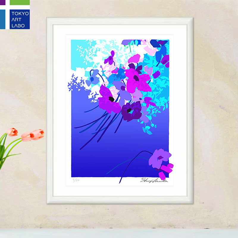 【新着】絵画 額入り インテリア Bouquet de fleurs「青い花束」アート 壁掛け 絵 花の絵 風水 おしゃれ 玄関 リビング 飾る 額絵 アートポスター フレンチ モダン 版画