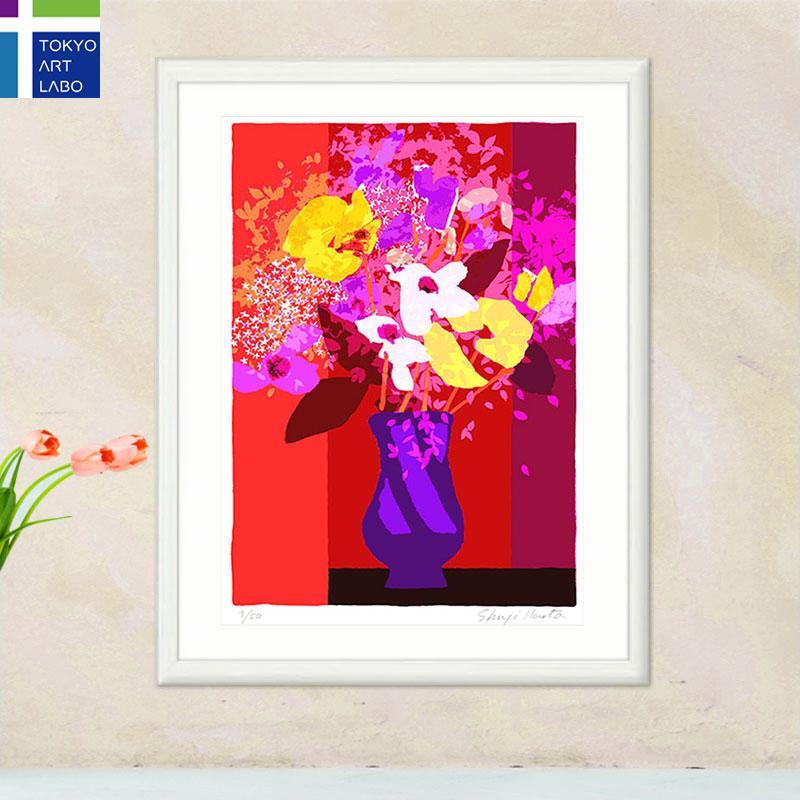 【新着】絵画 額入り インテリア Le vase et les fleurs「壺と花」 黄色い花 アート 壁掛け 絵 花の絵 風水 おしゃれ 玄関 リビング 飾る 額絵 アートポスター フレンチ モダン 版画