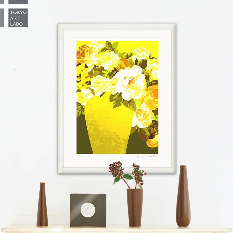 【新着】絵画 額入り インテリア Le vase jaune「黄色の花瓶」壁掛け 絵 花の絵 風水 壁飾り おしゃれ 玄関 受付 レストラン リビング 飾る 額絵 アートポスター フレンチ モダン 版画