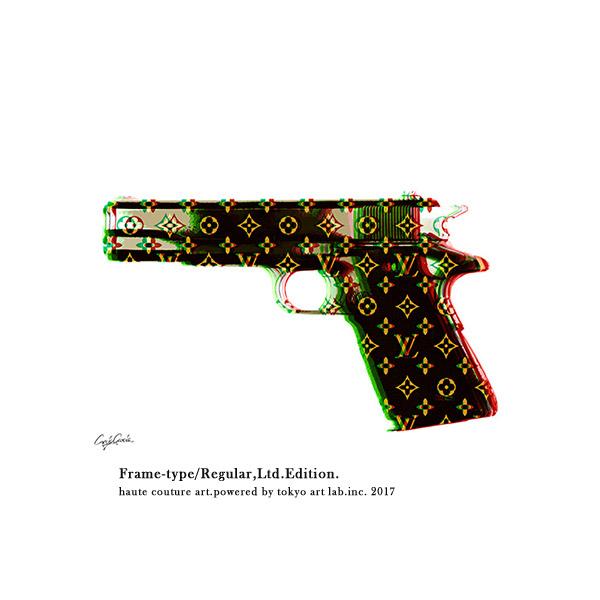 アートポスター フレーム付き ブランド ポップアート LV HAND GUN 絵画 インテリア おしゃれ 壁掛け アートフレームREGULAR 540mm 690mm