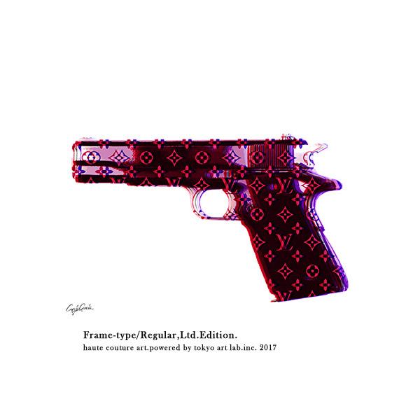 絵画 おしゃれ 絵 ブランド アートLV HAND GUN インテリア 壁掛け アートフレーム 重厚感 高級感 手塗りの額縁 チョコブラウン メゾンブランド BY C.Garcia