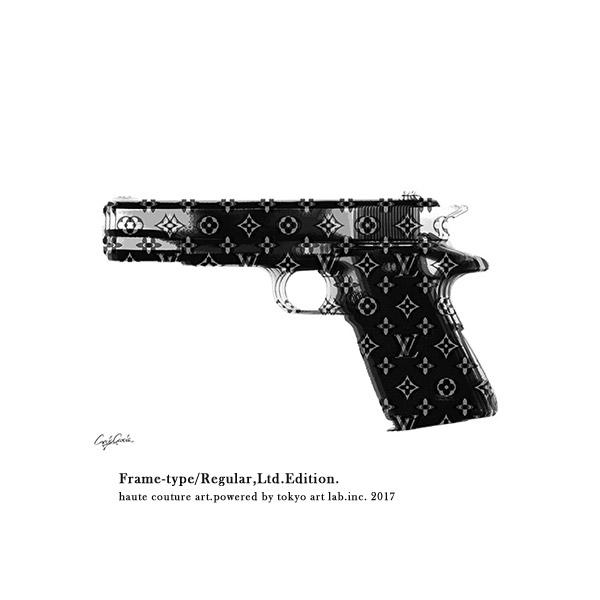 メゾンブランドアート コンテンポラリー LV HAND GUN REGULAR 540mm 690mmシンプルモダン 絵画 壁掛け※ご注文時【フレームカラー】額縁色を忘れずにお選びください。