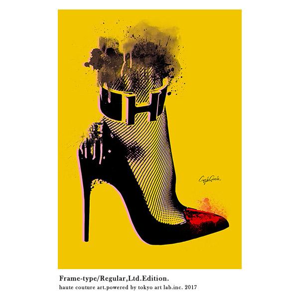 絵画 おしゃれ 絵 ブランド アートHigh heel インテリア 壁掛け アートフレーム 重厚感 高級感 手塗りの額縁 チョコブラウン メゾンブランド BY C.Garcia