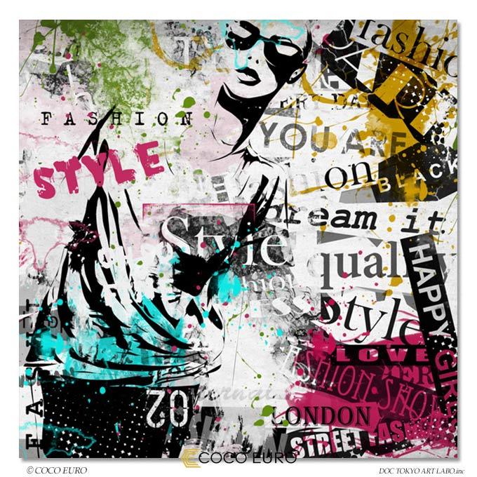 COCOEURO 絵画 インテリア モダン アート Fille de mode Grunge9 SIZE W100cm H100cm 大型 アート 壁 絵 アクリル 高級 上位モデル