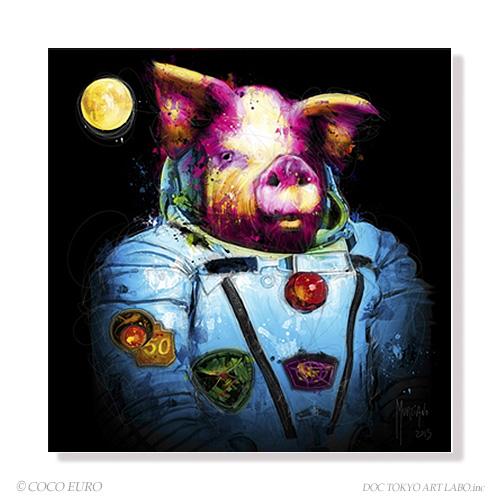PLEXIGLAS Pig in Space SIZE 690x690mm 絵画 インテリア おしゃれ 壁掛け 絵 ポップアート ビビッド /上位モデル