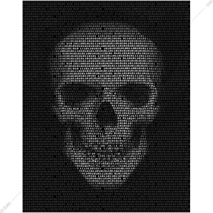絵画 インテリア PLEXIGLAS Skull Binary code SIZE mm 750*100 アート 装飾 壁 絵 高級 フレームレス 正規品 スカル