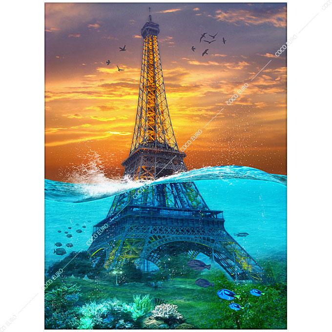 絵画 PLEXIGLAS Sunk Eiffel Tower SIZE mm 900*1200 アート 装飾 壁 絵 ココ コブラアート上位モデル 高級 フレームレスアート