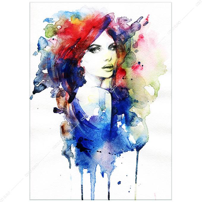絵画 モダン PLEXIGLAS Aquarelle Portrait4 SIZE mm 1000*1400 アート 装飾 壁 絵 ココ コブラアート上位モデル 高級 フレームレスアート