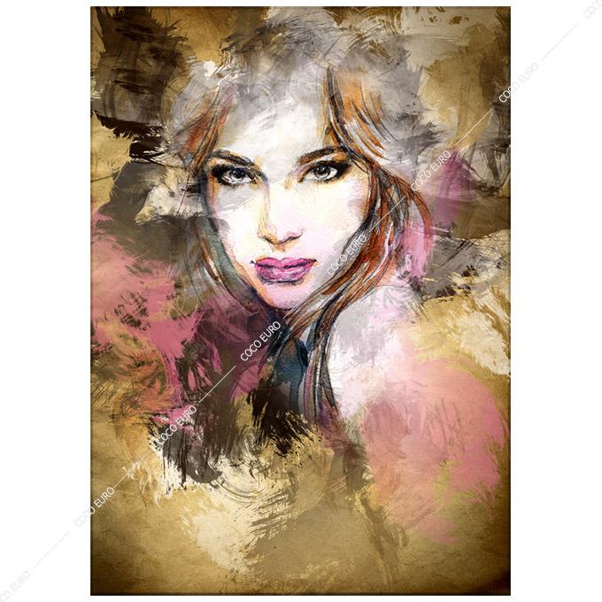 絵画 壁掛け PLEXIGLAS Aquarelle Portrait3 SIZE mm 1000*1400 アート 装飾 壁 絵 ココ コブラアート上位モデル 高級 フレームレスアート