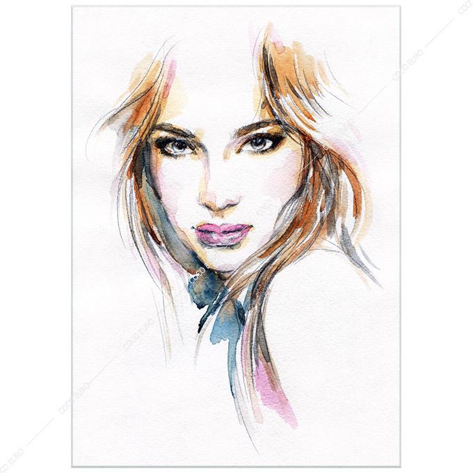 Woman face. Hand painted fashion illustration SIZE/mm:1250*1750 最高品質 フレームレス インテリアアート販売ジャンル:絵画 アート インテリア 壁掛け モダンアートAvant-Garde ココアート コブラアート通信販売:市場限定 正規品