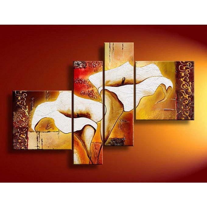 絵画 和モダンフローラル アート(花柄) 4枚組W900mm ハーフサイズ 一般住宅向絵画 壁掛け インテリア 抽象アート 花柄 和風 和モダン等 約400種を取扱住空間のリニューアル リフォーム等へ