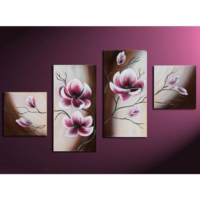 絵画 和風 インテリア マグノリア 4枚組W1000mm ハーフサイズ 一般住宅向絵画 壁掛け インテリア 抽象アート 花柄 和風 和モダン等 約400種を取扱住空間のリニューアル リフォーム等へ
