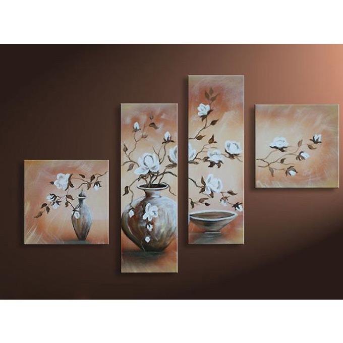 【SALE対象品】絵画 和風 インテリア 白練りの花瓶 4枚組W1000mm ハーフサイズ 一般住宅向絵画 壁掛け インテリア 抽象アート 花柄 和風 和モダン等 約400種を取扱住空間のリニューアル リフォーム等へ