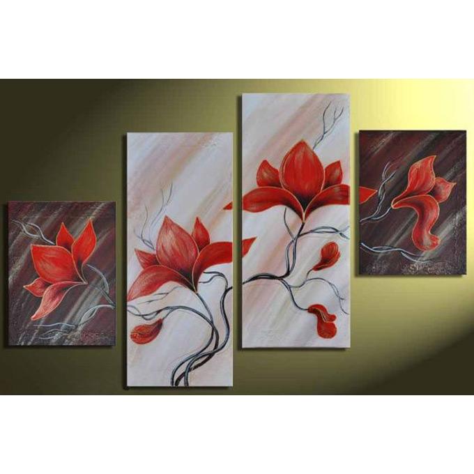 【SALE対象品】 絵画 和モダン オリエンタルアート 4枚組 W800mm ハーフサイズ 一般住宅向絵画 壁掛け インテリア 抽象アート 花柄 和風 和モダン等 約400種を取扱住空間のリニューアル リフォーム等へ