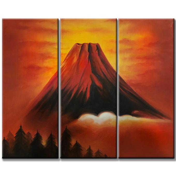 【SALE対象品】絵画 赤富士 3枚組 W600mm ハーフサイズ 一般住宅向絵画 壁掛け インテリア 抽象アート 花柄 和風 和モダン等 約400種を取扱住空間のリニューアル リフォーム等へ