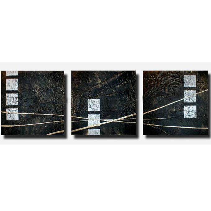 絵画 内装用 インテリアアート 【黒 銀の抽象】3枚組全長1200mm 斬新な筆使いで描き出すモダンアートハーフ(小さい)size リビング 玄関の壁掛け インテリア 抽象 和風 和モダン一般住宅向け リフォーム リノベーション