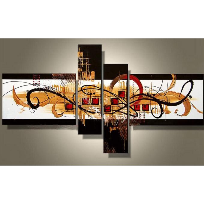 【SALE対象品】 絵画 内装用 インテリアアート 【飴色の抽象】4枚組 W1300mm 斬新な筆使いで描き出すモダンアートハーフ(小さい)size リビング 玄関の壁掛け インテリア 抽象 和風 和モダン一般住宅向け リフォーム リノベーション