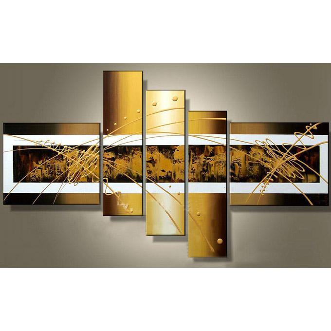 【SALE対象品】絵画 壁掛け 手描き 金色の抽象2 5枚組 W1400mm おしゃれ 絵 インテリア 壁絵 壁掛けアート 油絵 モダンアート 玄関 居間 新築 一般住宅