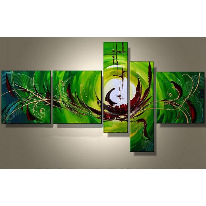 絵画 内装用 インテリアアート 【緑青色の抽象】5枚組 W1300mm 斬新な筆使いで描き出すモダンアートリビング 玄関の壁掛け インテリア 抽象 和風 和モダン一般住宅向け リフォーム リノベーション