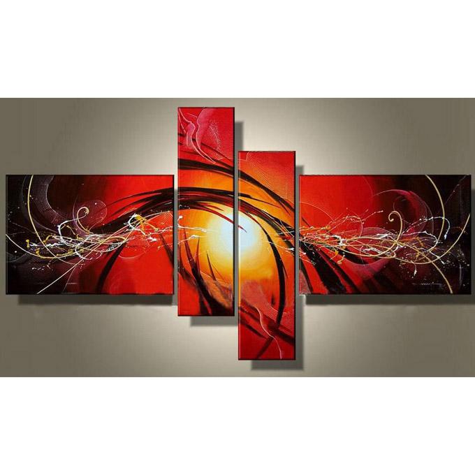 絵画 インテリア 油絵 緋色の抽象/おしゃれ リビングに飾る絵 玄関に飾る 壁掛け アートパネル モダン Sサイズ