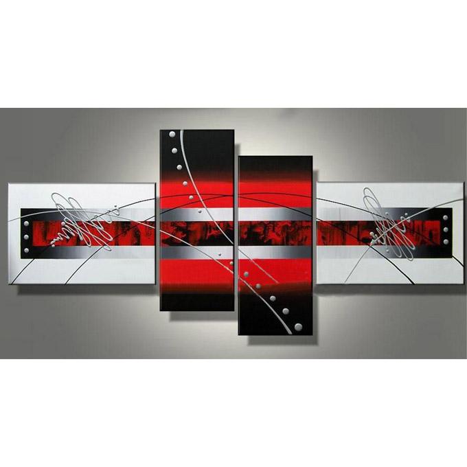 絵画 内装用 インテリアアート 【赤 黒の抽象】4枚組 W1500mm 斬新な筆使いで描き出すモダンアートハーフ(小さい)size リビング 玄関の壁掛け インテリア 抽象 和風 和モダン一般住宅向け リフォーム リノベーション