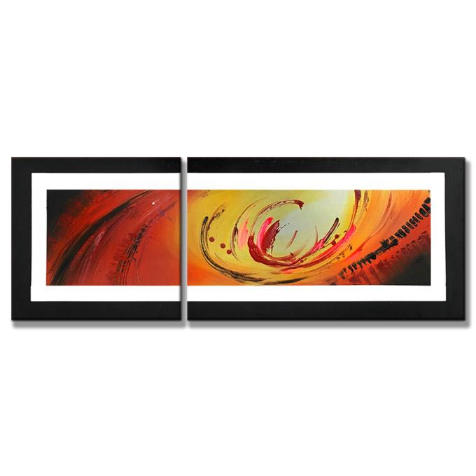【SALE対象品】 絵画 装飾用 インテリアアート 【赤橙の抽象】2枚組全長800mm ハーフサイズ 一般住宅向絵画 壁掛け インテリア 抽象アート 花柄 和風 和モダン等 約400種を取扱住空間のリニューアル リフォーム等へ