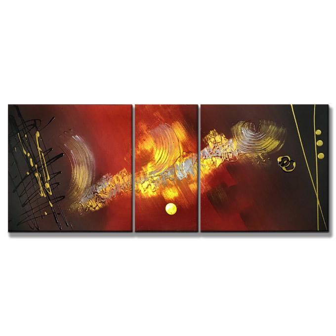 【SALE対象品】絵画 分割 油絵 赤銅色の抽象2 3枚組 W1000mm 斬新な筆使いで描くモダンアート おしゃれ 絵 油彩 インテリア 壁絵 玄関 居間 新築 ハーフ(ミニ)サイズ 抽象 モダン 洋風 【店頭受取対応商品】