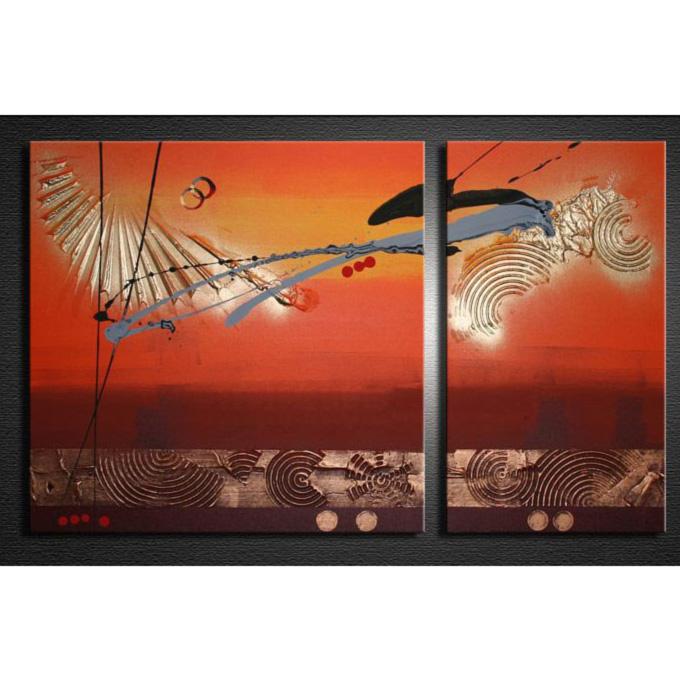 【SALE対象品】 絵画 壁掛け インテリア 【赤銅色の抽象5】2枚組W650mm 斬新な筆使いで描き出すモダンアートハーフ(小さい)size リビング 玄関の壁掛け インテリア 抽象 和風 和モダン一般住宅向け リフォーム リノベーション