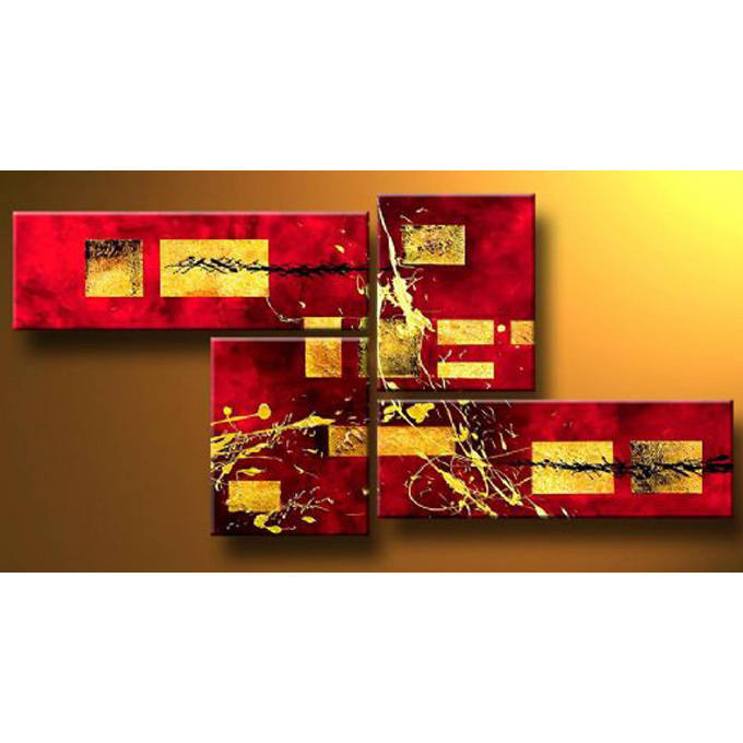 【SALE対象品】 絵画 壁掛け インテリア 【金の抽象】4枚組W1200mm 斬新な筆使いで描き出すモダンアートハーフ(小さい)size リビング 玄関の壁掛け インテリア 抽象 和風 和モダン一般住宅向け リフォーム リノベーション 新築