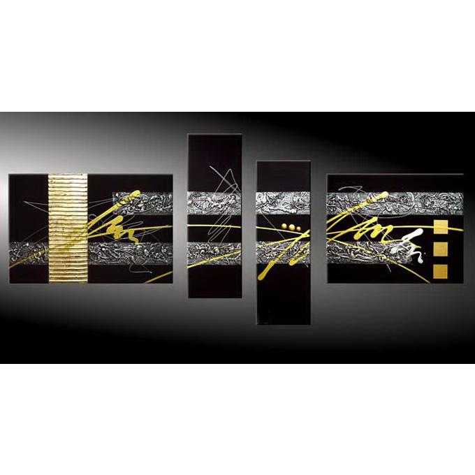 絵画 壁掛け インテリア 【金 銀の抽象】4枚組W1200mm 斬新な筆使いで描き出すモダンアートハーフ(小さい)size リビング 玄関の壁掛け インテリア 抽象 和風 和モダン一般住宅向け リフォーム リノベーション