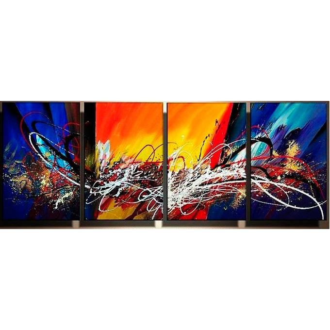 【SALE対象品】絵画 壁掛け インテリア 【太陽の抽象】4枚組W1000m 斬新な筆使いで描き出すモダンアートハーフ(小さい)size リビング 玄関の壁掛け インテリア 抽象 和風 和モダン一般住宅向け リフォーム リノベーション