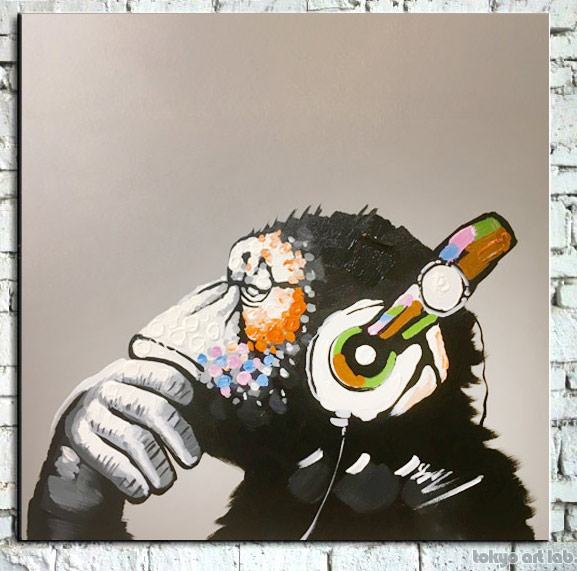 【全商品10倍!!超ポイントバック祭】絵画 APE 猿 チンパンジー 60cmサイズ インテリアアート【額無し】黒 白黒 モノトーン 壁掛け サル 申年