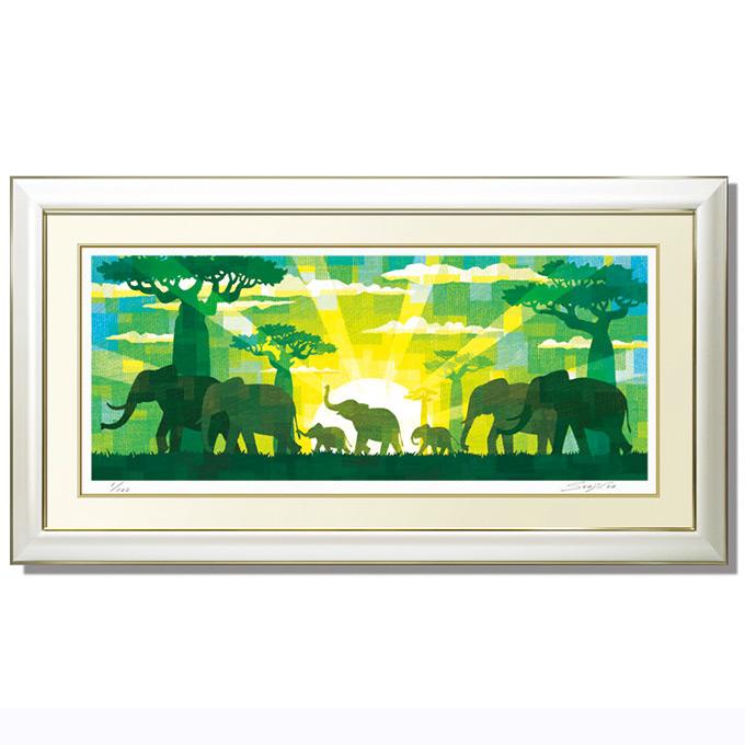 絵画 壁掛け 版画 ゾウの行進 横長 88cm×48cm 母の日