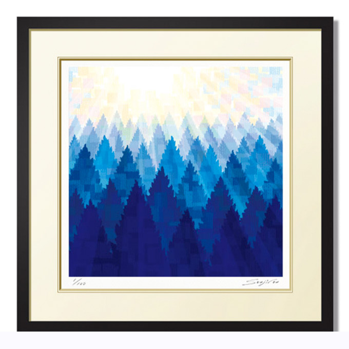 絵画 インテリア 壁掛け 額入り【陽樹】「冬の早朝 冷えきった空気の中で若草山に登ると 優しく心地よい光が出迎えてくれました」