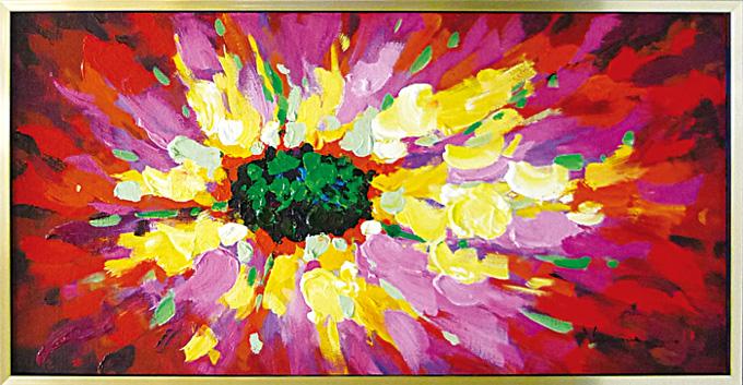 絵画 額入り 壁に飾る 壁掛けの絵画 【ビビッドフラワー ポピー】玄関 キッチン リビング トイレに大きいサイズの油絵 抽象画花柄 の壁掛けアート 赤