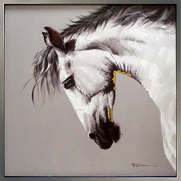 絵画 馬【ホワイトホース (白馬)】馬の絵 油絵癒しのヒーリングアート壁に飾る 壁掛け 額絵 ダイニング リビング に大きい 絵 【額付き】モノトーン 黒 白黒 グラマラス