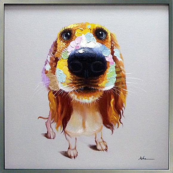 絵画 壁掛け 壁に飾る絵画【ちゃんとまってるからね】かわいい犬の絵動物ペットの絵/ビーグルの絵ミニチュア ダックス玄関 キッチン リビング に大きいサイズの絵 額付き