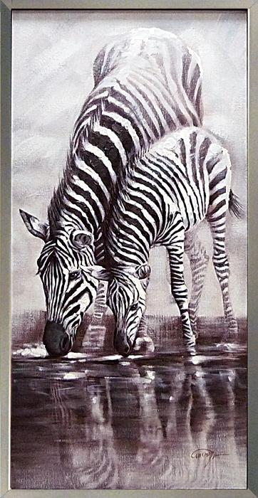 絵画 額入り インテリア 馬の絵画しまうまの親子 馬の絵 ゼブラ大きいサイズの油絵 油彩【額付き】黒 白黒 モノトーン