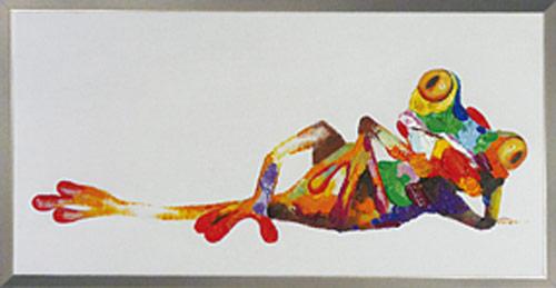 絵画 壁掛け【フロッグバカンス 】かえる カエルの絵画蛙の肉筆大きい油絵お部屋 リビングにぬくもりと驚きのアートを♪【額付き】