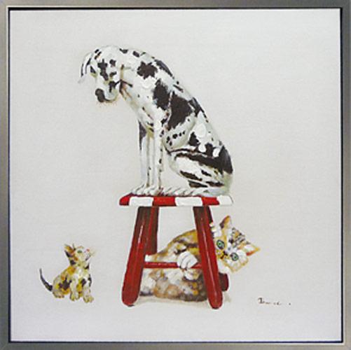 絵画 ダルメシアン 猫 犬の絵 壁掛け次はアタシの番よ かわいいペットの 油彩絵画お部屋 リビングにぬくもりと癒しのアートを♪