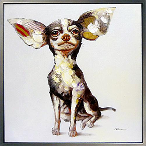 絵画 油絵 人気のリラクゼーションアートスマート チワワ-Smart Chihuahua かわいいペットの絵猫(ねこ) 犬(いぬ)の絵 絵画お部屋 リビングのアクセントにぬくもりと癒しのモダンアートを\お部屋にユニークな彩りを/【額付き】