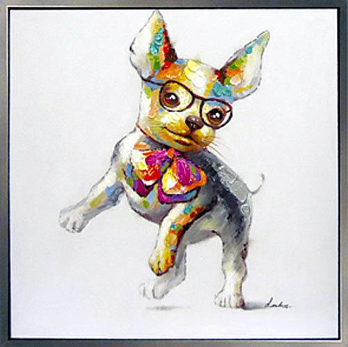 お部屋にかわいいアートを 絵画 油絵人気のリラクゼーションアート【今夜はおしゃれに・・♪ dressed-up!】かわいいペットの 油彩画猫(ねこ) 犬(いぬ)の絵 絵画お部屋 リビングのアクセントにぬくもりと癒しのモダンアートを【額付き】壁掛け