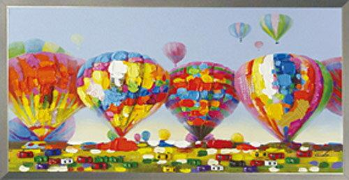 絵画 額入り【Air Ballons festival(気球大会)】熱気球 エアバルーン 気球 熱気球大会H530mm W1030mmおしゃれ 絵 壁掛け かわいい絵