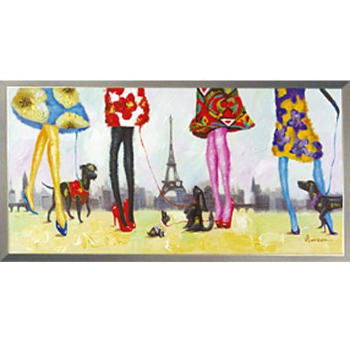 絵画 額入り 【パリジャン et パリジェンヌ】たまにはみんなでエッフェル塔エッフェル塔の絵 パリ絵画H530mm W1030mmダイナミックな壁掛けインテリアかわいいワンコ・フクロウ・クマの絵 額付き